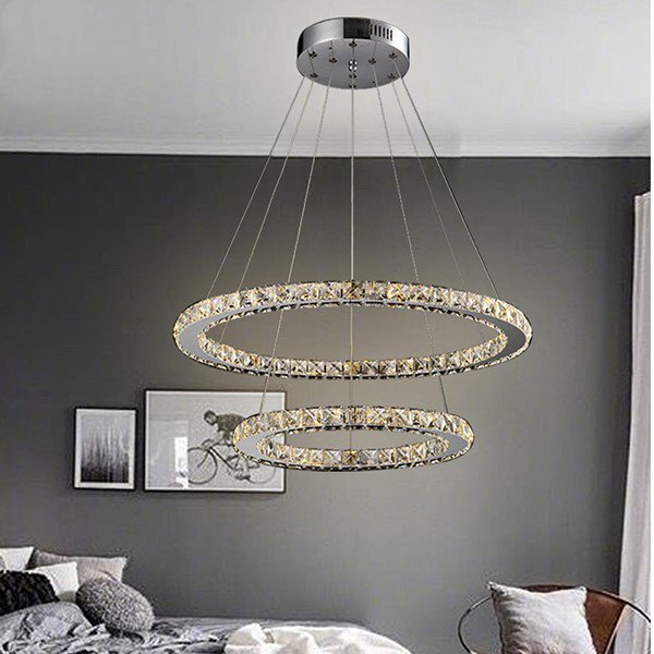 Crystal,Iron Art,Glass,Stainless Steel Study Room/ Bedroom,Restaurant Electric Punching Modern Minimalist Chandelier