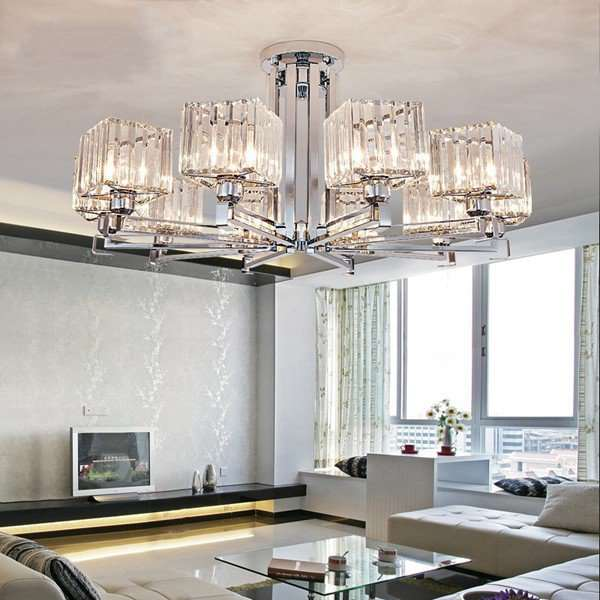 Iron Art,Crystal Living Room,Study/ Bedroom Plating Modern Minimalist Chandelier,10 Lights