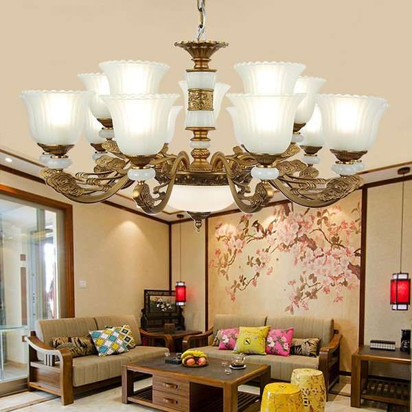 Glass,Iron Art,Zinc Alloy Living Room,Villa/ The Hotel Lobby,High Level/ Compound Electroplating European Chandelier,15 Lights