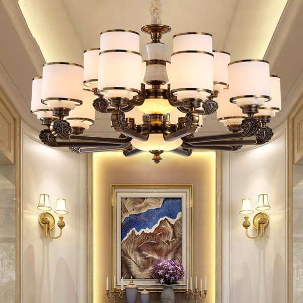 Zinc Alloy,Imitation Jade,Jade Living Room,High Level/ Compound Drawing And Hanging New Chinese Chandelier,15 Lights