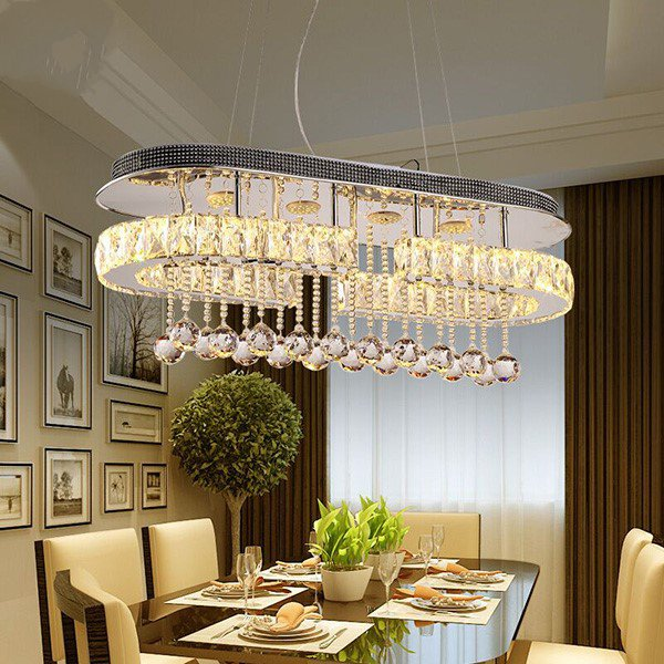 Crystal,Stainless Steel Restaurant,Study/ Bedroom Electric Punching Modern Minimalist Chandelier,1 Lights