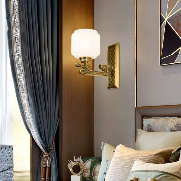 Glass,Copper Study Room/ Bedroom,Restaurant,Living Room Dyeing New Chinese Wall Lamp, Single Head
