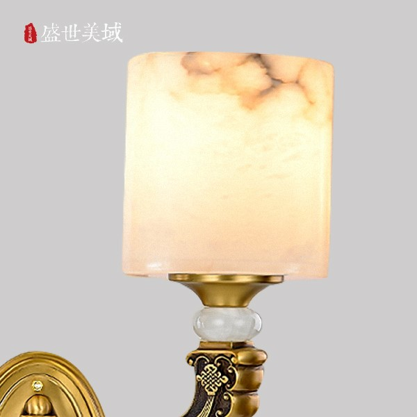 Marble,Copper Living Room,Villa/ The Hotel Lobby,Study/ Bedroom Engraving New Chinese Wall Lamp, Single Head