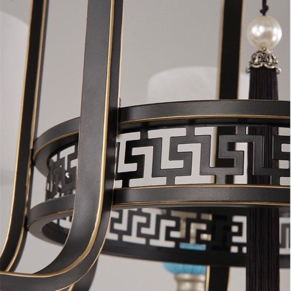 Iron Art,Glass,Ceramic Living Room,High Level/ Compound Hot Bending New Chinese Chandelier,15 Lights