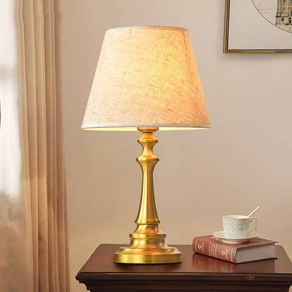 Copper,Cloth Living Room,Study/ Bedroom Forged American Minimalist Table Lamp