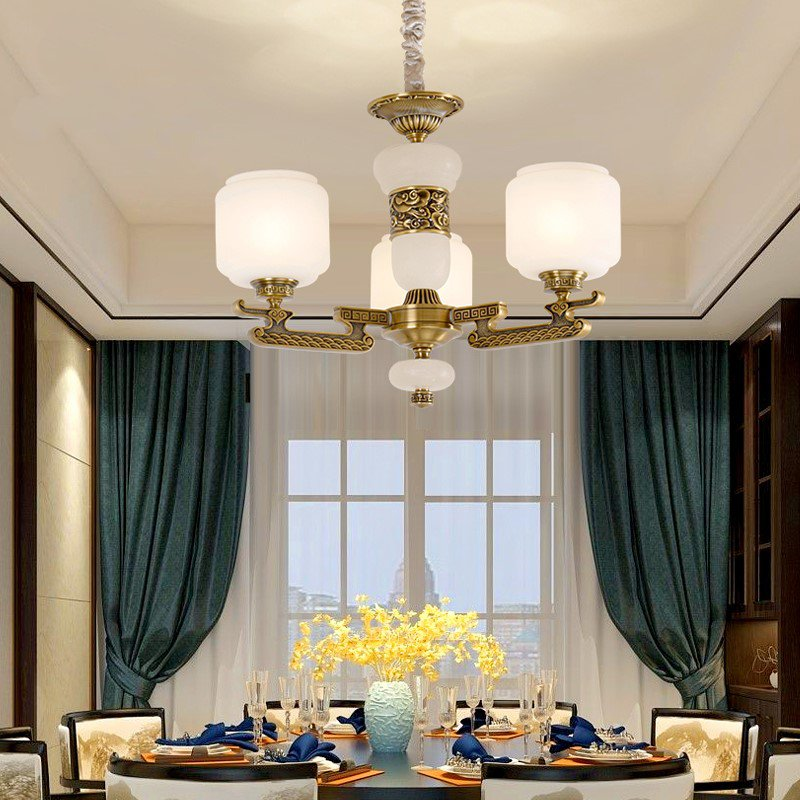 Copper,Glass,Marble Corridor/ Aisle/ Entrance,Restaurant,Study/ Bedroom Dyeing New Chinese Chandelier,3 Lights