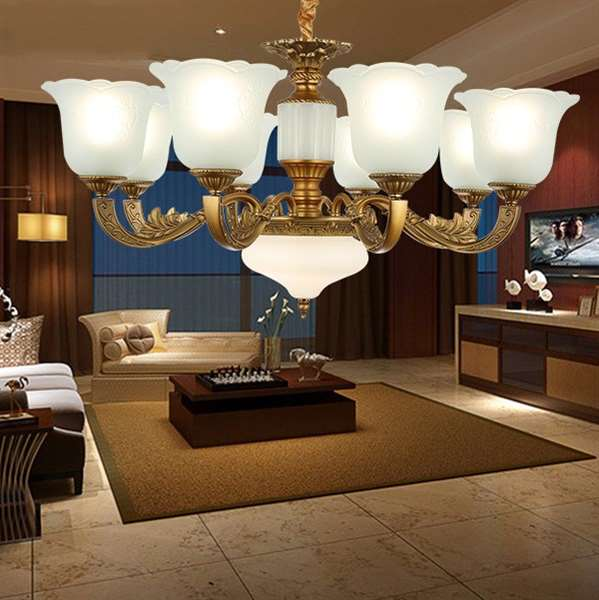 Iron Art,Glass,Zinc Alloy Living Room,Study/ Bedroom,Restaurant Electroplating European Chandelier,8 Lights