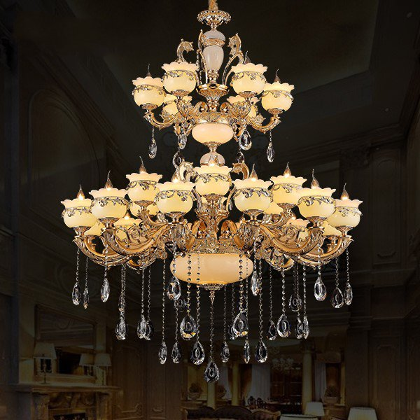 Zinc Alloy,Imitation Jade High-rise/ Duplex,Other Electroplated European Chandeliers,24 Above The Head