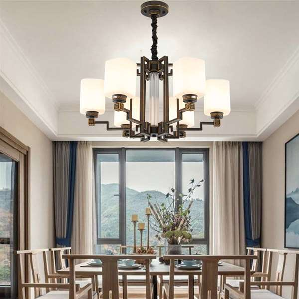 Iron Art,Glass Study Room/ Bedroom,Restaurant Spray Sanding New Chinese Chandelier,6 Lights