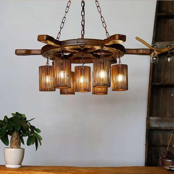Wood Art,Bamboo Art Living Room,Restaurant Other/other Pastoral Chandelier,7 Lights