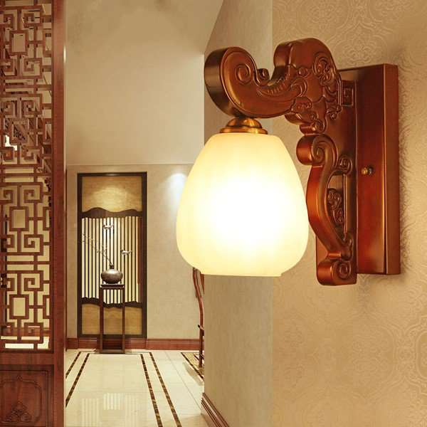 Glass,Wooden Villa/ The Hotel Lobby,Corridor/ Aisle/ Entrance Carving Chinese Wall Lamp, Single Head