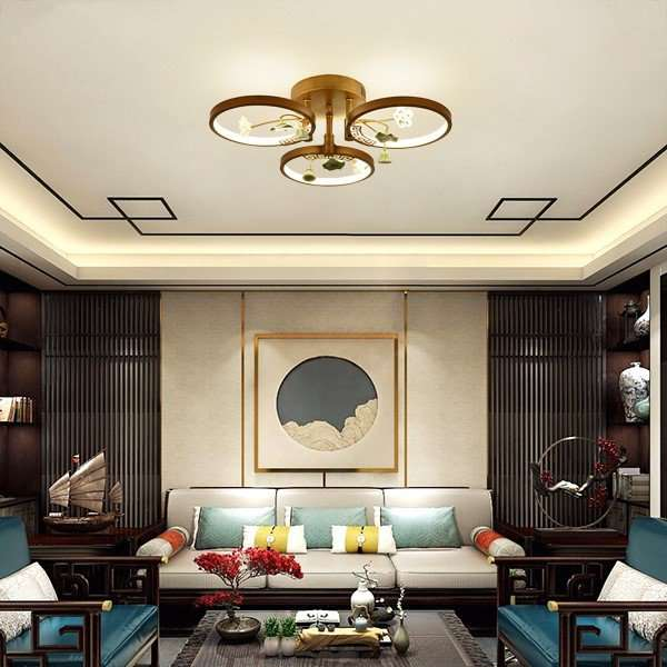 Iron Art,Ceramic Living Room,Study/ Bedroom,Restaurant Spray Sanding New Chinese Chandelier,3 Lights