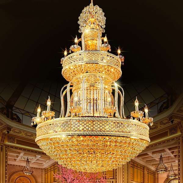 Iron Art,Glass,Crystal High Rise/ Duplex,Villa/ Electroplated European Chandelier In Hotel Lobby,24 Above The Head