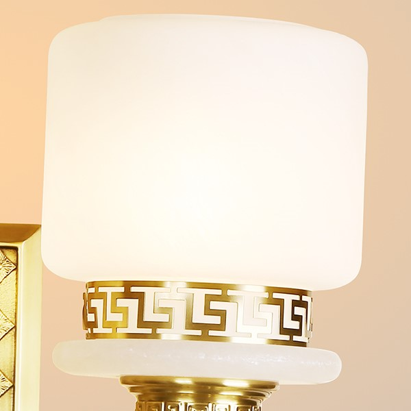 Glass,Copper,Marble Living Room,Study/ Bedroom Dyeing New Chinese Wall Lamp, Double Head