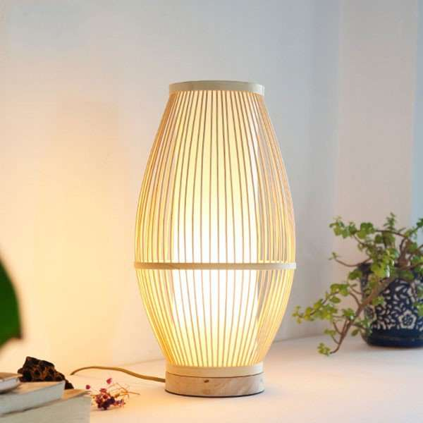 Bamboo Art,Solid Wood Study Room/ Bedroom,Living Room,Restaurant,Villa/ Hand-woven New Chinese Table Lamp In The Hotel Lobby