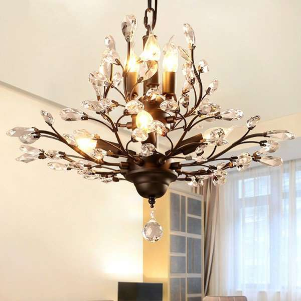 Iron Art,Crystal Study Room/ Bedroom,Restaurant Hot Curved American Minimalist Chandelier,7 Lights