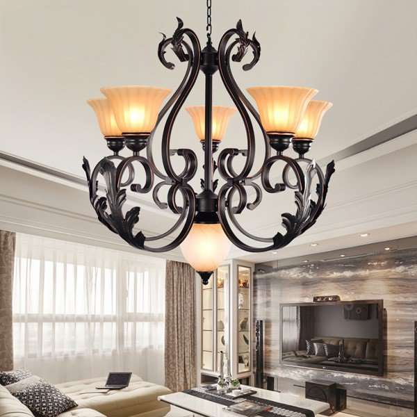 Iron Art Study Room/ Bedroom,Restaurant Hot Bend American Country Chandelier,6 Lights