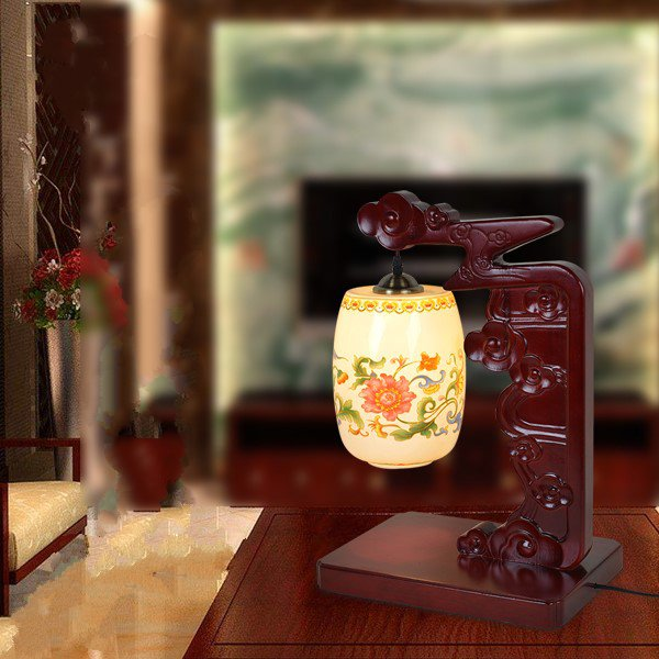 Ceramics,Solid Wood Living Room,Study/ Bedroom,Children's Room Spray Painting Frosted Chinese Table Lamp