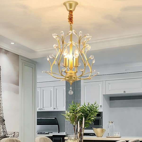 Crystal,Iron Art Restaurant,Balcony,Corridor/ Aisle/ Porch Light Luxury Chandelier,3 Lights