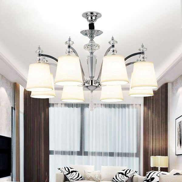 Iron Art,Crystal,Cloth Living Room,Study/ Bedroom Plating Modern Minimalist Chandelier,8 Lights