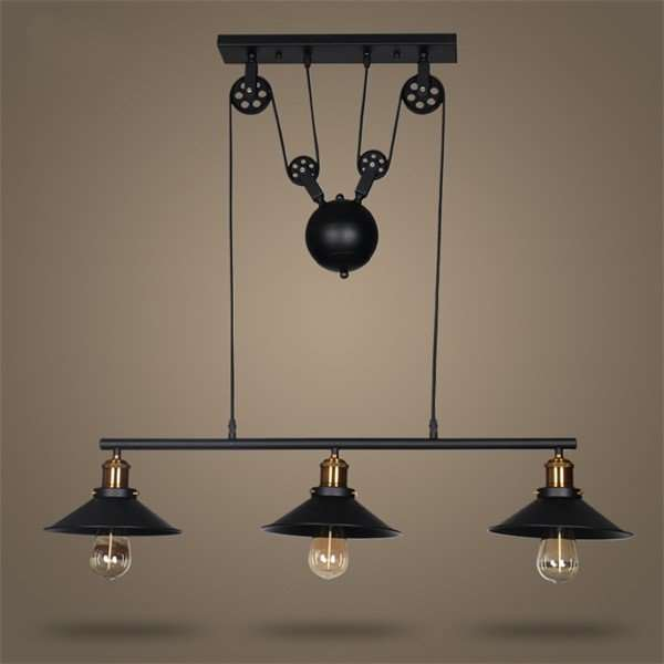 Iron Art Study Room/ Bedroom,Restaurant Paint Scrub Industrial Wind Chandelier,3 Lights
