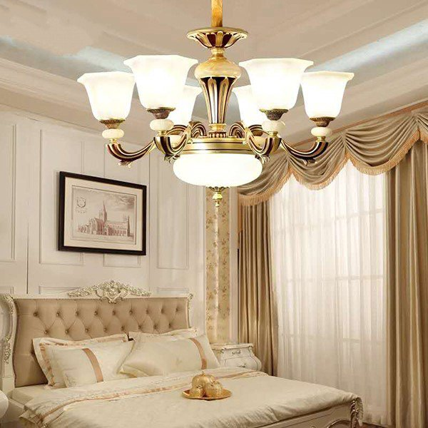 Glass,Zinc Alloy,Jade Study Room/ Bedroom,Restaurant,Corridor/ Aisle/ Porch Spray Paint Frosted European Chandelier,6 Lights