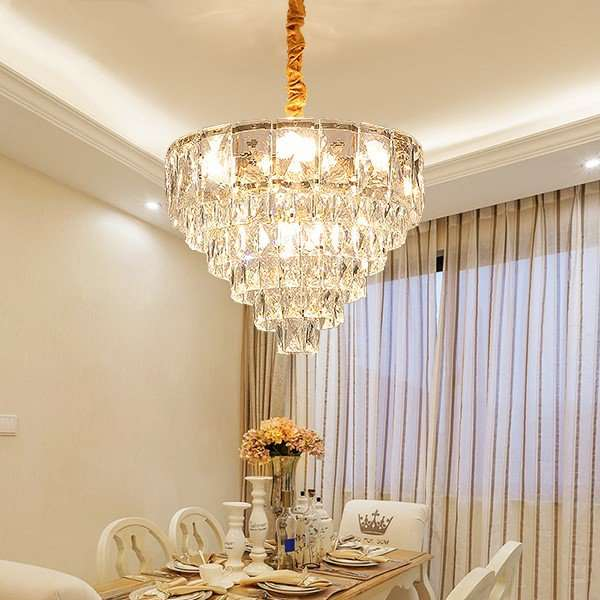 Crystal Restaurant,Study/ Bedroom Plating Light Luxury Chandelier,9 Lights