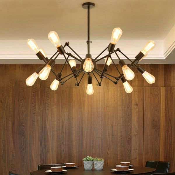 Iron Living Room,Restaurant Paint Scrub Industrial Wind Chandelier,16 Lights