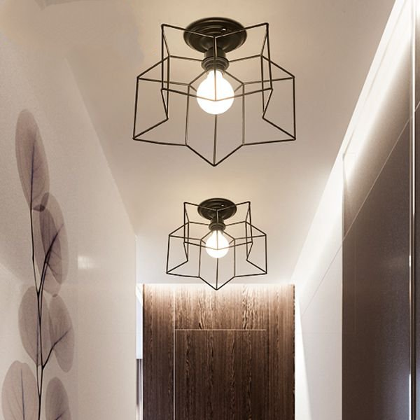 Iron Art,Cloth Study Room/ Bedroom,Restaurant,Balcony Spray Paint Frosted Industrial Wind Ceiling Lamp