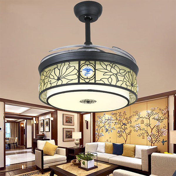 Iron Art,Crystal,Copper,PC Restaurant,Living Room Electroplating American Simple Fan Light,1 Lights