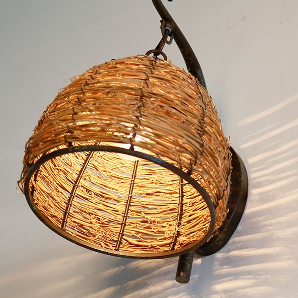 Rattan Art,Iron Living Room,Study/ Bedroom,Restaurant,Corridor/ Aisle/ Entrance,Balcony,Stairs/ Corner Hand-woven Pastoral Wall Lamp, Single Head