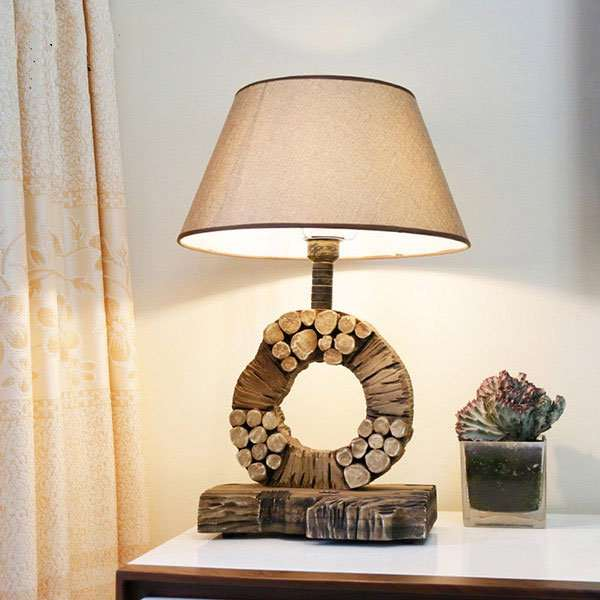 Wood Art,Cloth Art,Solid Wood Living Room,Study/ Bedroom Carved Pastoral Table Lamp
