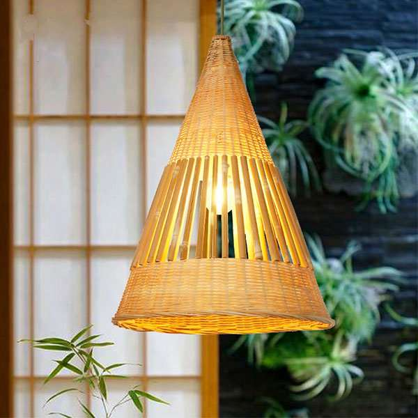 Wood Art,Bamboo Art Restaurant,Hand-woven Pastoral Chandelier In The Living Room,1 Lights