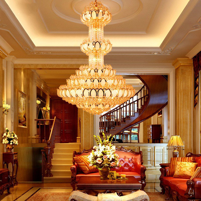 Iron Art,Crystal Villa/ The Hotel Lobby,High Level/ Compound Electroplating European Chandelier,24 Above The Head