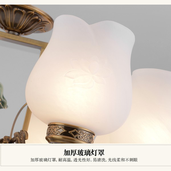 Glass,Zinc Alloy Study Room/ Bedroom,Restaurant,Chess Room/ Mahjong Hall Painted Scrub New Chinese Chandelier,6 Lights
