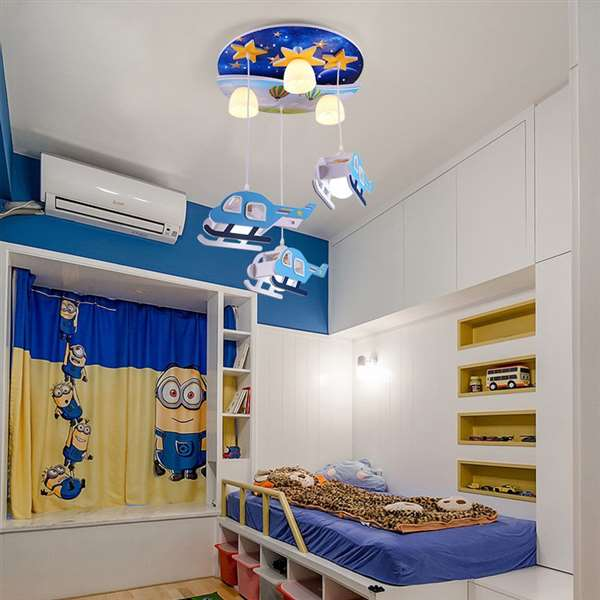 PVC,Glass Children's Room,Study/ Bedroom Hollow Carved Children/ Cartoon Chandelier,6 Lights