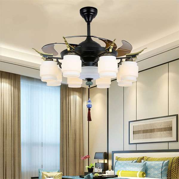 Iron Art,Imitation Jade,FRP Restaurant,Study/ Bedroom,Die-casting New Chinese Fan Light In The Living Room,1 Lights
