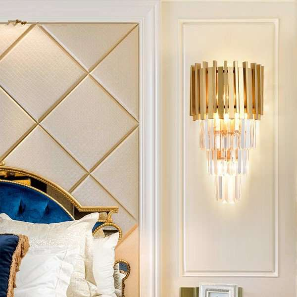 Crystal Corridor/ Aisle/ Entrance,Living Room Painted Frosted Light Luxury Wall Lamp, Three Heads And Above