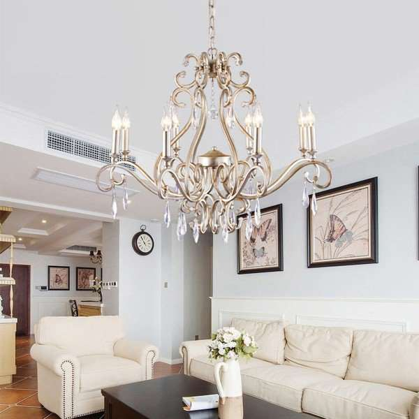 Iron Art,Crystal Living Room,Restaurant Painted Frosted American Country Chandelier,8 Lights