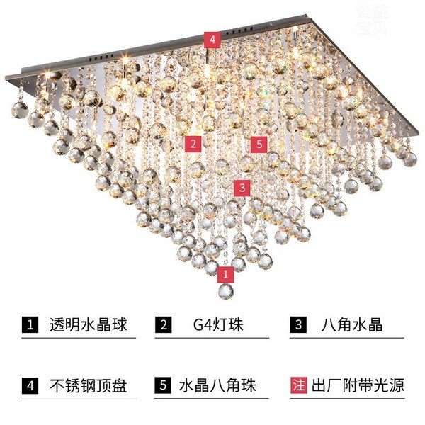 Crystal,Stainless Steel Study Room/ Bedroom,Restaurant Brushed Hanging Post Modern Ceiling Lamp