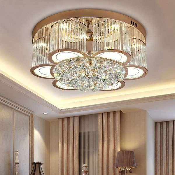 Crystal Study Room/ Bedroom Plating Modern Minimalist Ceiling Lamp