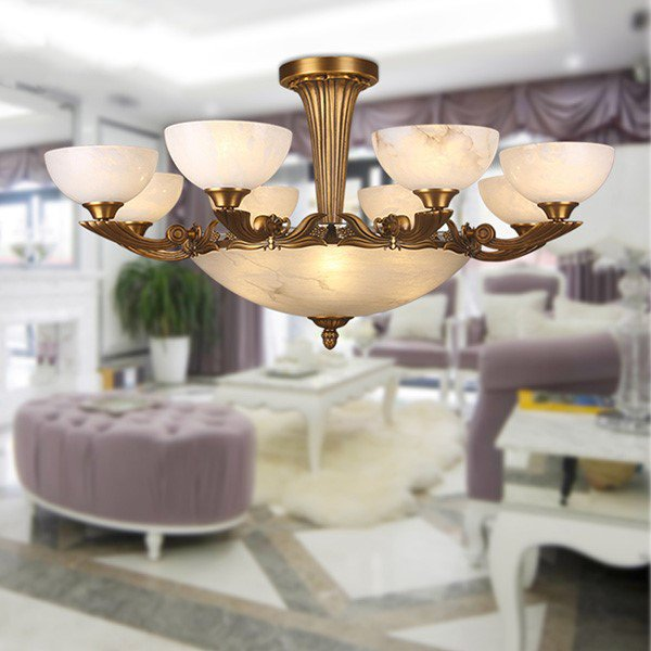 Copper,Marble Living Room,Villa/ Hotel Lobby Dyed European Chandelier,8 Lights