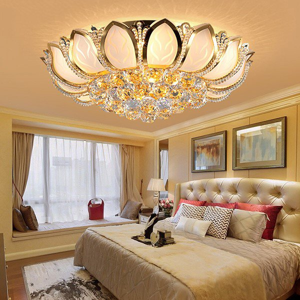 Iron Art,Crystal Study Room/ Bedroom,Living Room Electroplating Modern Simple Ceiling Lamp