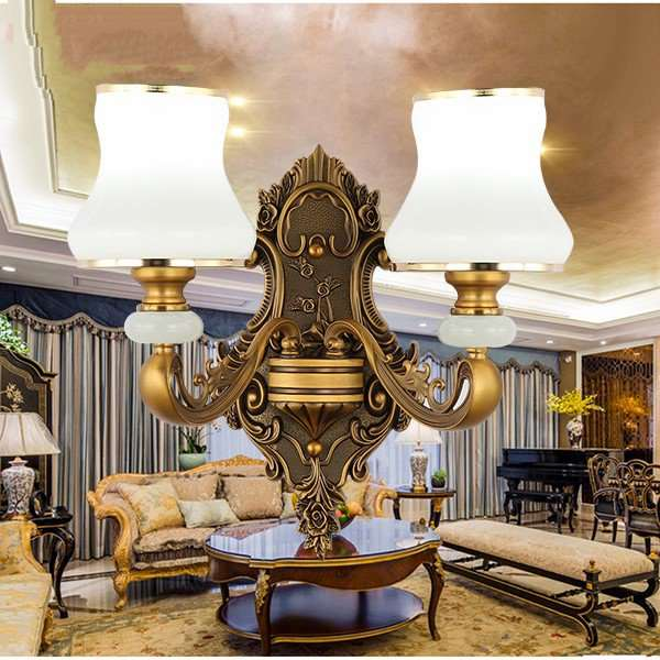 Glass,Zinc Alloy Corridor/ Aisle/ Entrance,Villa/ The Hotel Lobby,Stairs/ Corner Electroplated European Wall Lamp, Double Head