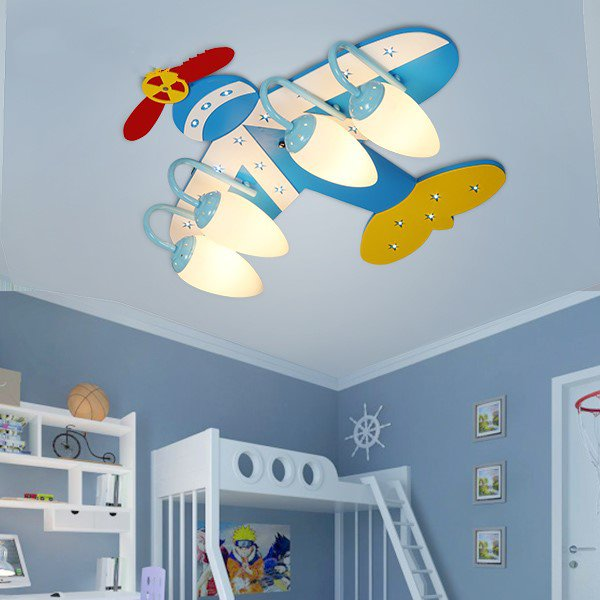 Iron Art,Glass,Wooden Children's Room Other/other Children/ Cartoon Ceiling Lamp