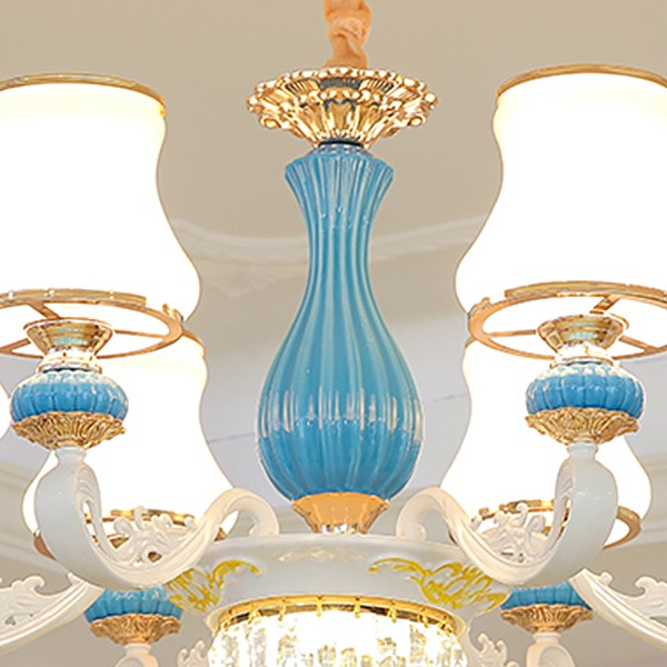 Zinc Alloy,Glass,Ceramic Study Room/ Bedroom,Living Room,Other Spray Painted Frosted European Chandeliers,6 Lights