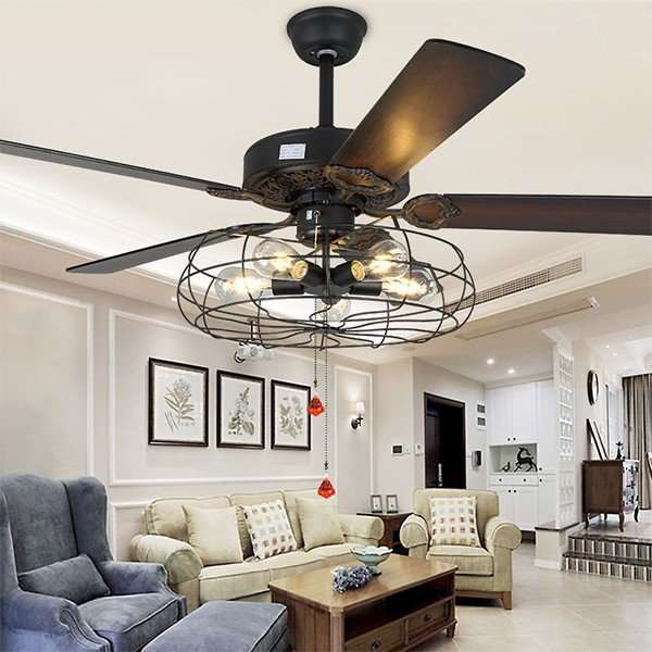Wood Art,Iron Art,PC Living Room,Study/ Bedroom,Restaurant Electroplating Retro Fan Light,5 Lights