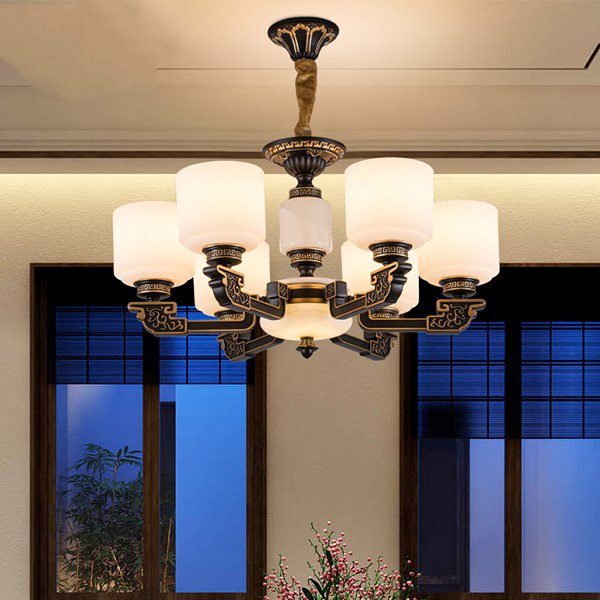 Glass,Artificial Marble,Zinc Alloy Study Room/ Bedroom Hot Bend New Chinese Chandelier,6 Lights