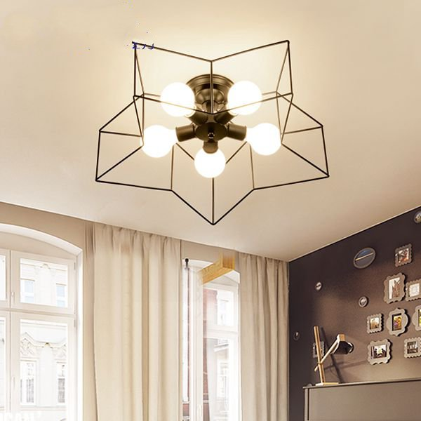 Iron Living Room,Restaurant Spray Painting And Frosting Industrial Wind Ceiling Lamp