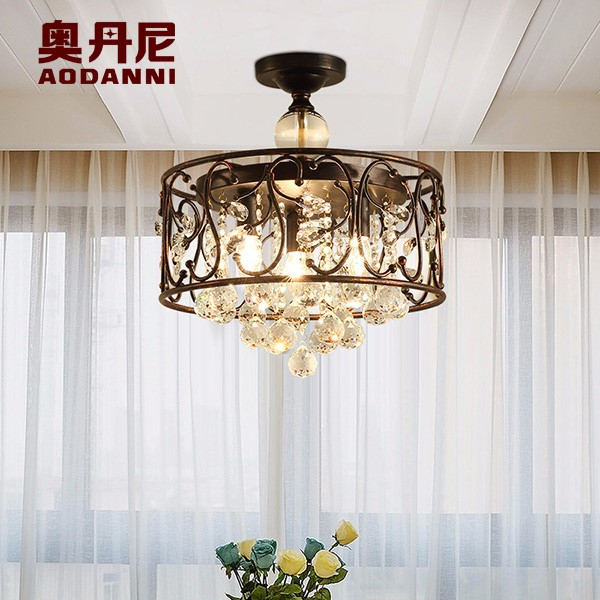 Iron Art,Crystal Study Room/ Bedroom,Restaurant Painted Frosted American Simple Ceiling Lamp